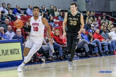 UNIVERSITY PARK, TX - DECEMBER 19: Southern Methodist Mustangs guard Jarrey Foster (10) brings the ball up court during the game between SMU and Cal Poly State on December 19, 2017, at Moody Coliseum in Dallas, TX. (Photo by George Walker/DFWsportsonline)