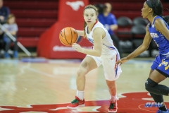 UNIVERSITY PARK, TX - DECEMBER 22: Southern Methodist Mustangs guard Morgan Smith (12) goes to the basket during the women's game between SMU and McNeese State on December 22, 2017, at Moody Coliseum in Dallas, TX. (Photo by George Walker/Icon Sportswire)