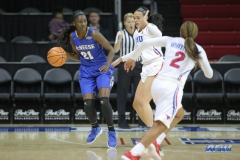 UNIVERSITY PARK, TX - DECEMBER 22: McNeese State Cowgirls forward Mercedes Rogers (21) fights for position during the women's game between SMU and McNeese State on December 22, 2017, at Moody Coliseum in Dallas, TX. (Photo by George Walker/Icon Sportswire)