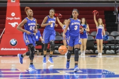 UNIVERSITY PARK, TX - DECEMBER 22: McNeese State Cowgirls guard Caitlin Davis (3) brings the ball up court during the women's game between SMU and McNeese State on December 22, 2017, at Moody Coliseum in Dallas, TX. (Photo by George Walker/Icon Sportswire)