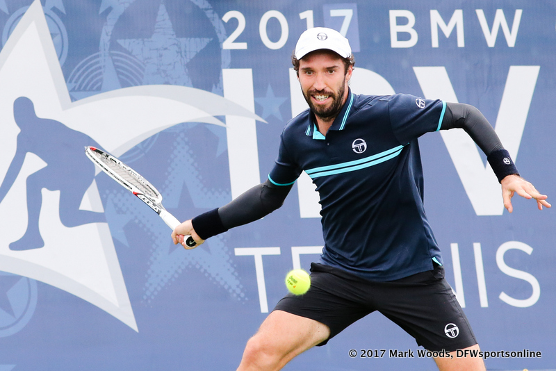 Mikhail Kukushkin (KAZ) in his quarterfinal singles match at Irving Tennis Classic in Irving, TX.