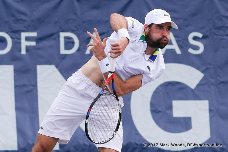 Qualifier Jeremy Chardy (FRA) in his quarterfinal singles match match at the Irving Tennis Classic in Irving, TX