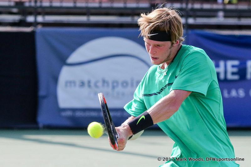 Qualifier Andrey Rublev (RUS) in his semifinal singles match match at the Irving Tennis Classic in Irving, TX