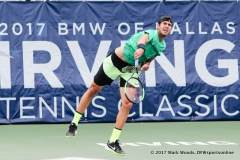 Karen Khachanov (RUS) in his quarterfinal singles match at the Irving Tennis Classic in Irving, TX.
