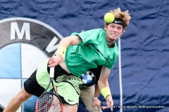 Qualifier Andrey Rublev (RUS) in his quarterfinal singles match match at the Irving Tennis Classic in Irving, TX