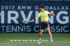 Aljaz Bedene (GBR) in his quarterfinal singles match match at the Irving Tennis Classic in Irving, TX