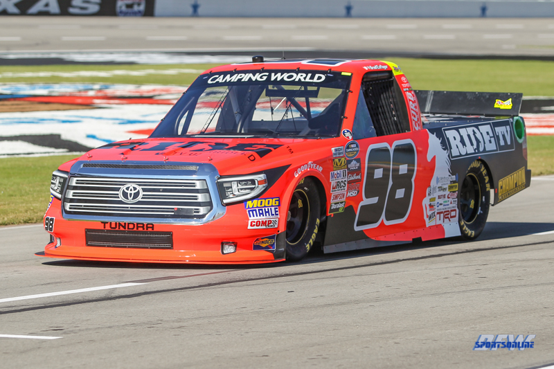 FORT WORTH, TX - NOVEMBER 02: NASCAR Camping World Truck Series driver Grant Enfinger (98) during practice for the 2017 JAG Metals 350 Driving Hurricane Harvey Relief on November 2, 2017 at Texas Motor Speedway in Fort Worth, TX. (Photo by George Walker/DFWsportsonline)