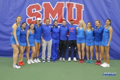DALLAS, TX - JANUARY 13: SMU women's tennis team and coaches during the SMU women's tennis Metroplex Mania tournament on January 13, 2018, at the SMU Tennis Complex, Turpin Stadium & Brookshire Family Pavilion in Dallas, TX. (Photo by George Walker/DFWsportsonline)