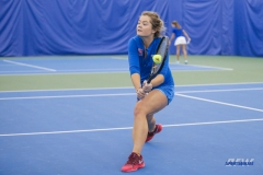DALLAS, TX - JANUARY 13: Anzhelika Shapovalova hits a backhand during the SMU women's tennis Metroplex Mania tournament on January 13, 2018, at the SMU Tennis Complex, Turpin Stadium & Brookshire Family Pavilion in Dallas, TX. (Photo by George Walker/DFWsportsonline)