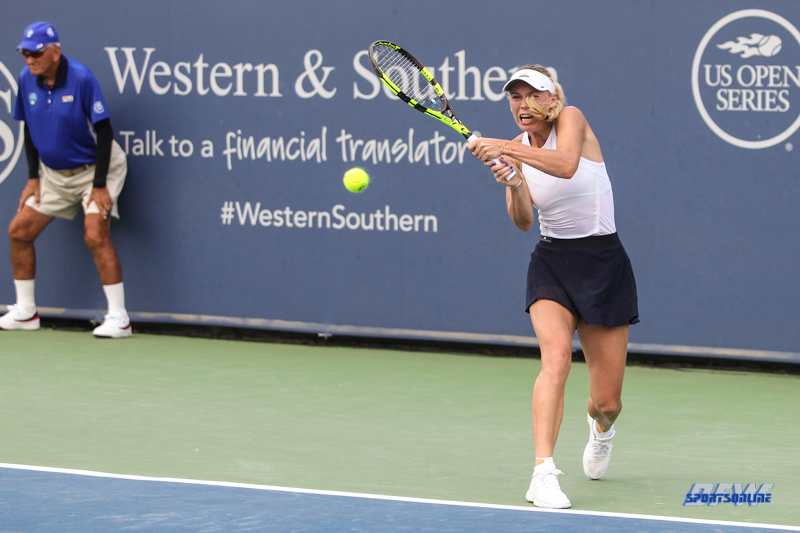 CINCINNATI, OH - Caroline Wozniacki (DEN) during the Western & Southern Open at the Lindner Family Tennis Center in Mason, Ohio on August 16, 2017, (Photo by George Walker/DFWsportsonline