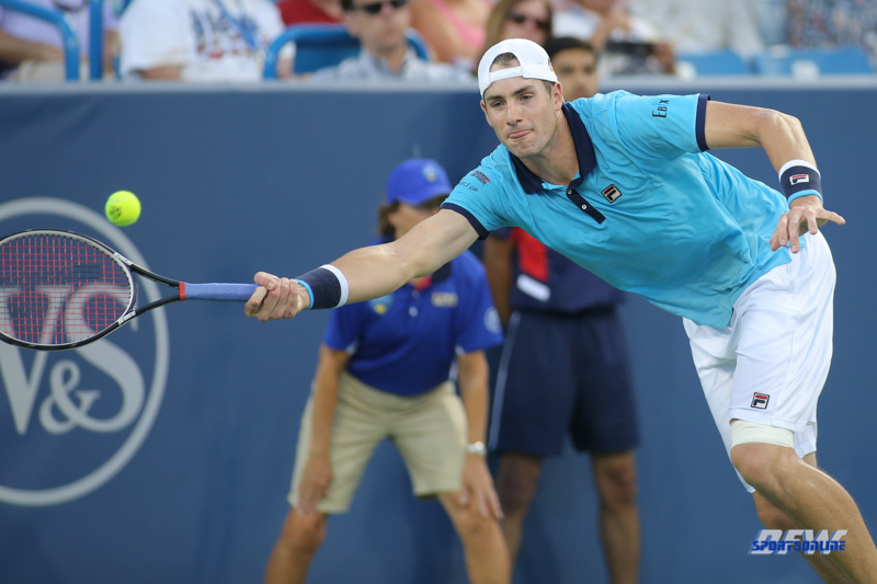 CINCINNATI, OH - John Isner (USA) stretches for a forehand during the Western & Southern Open at the Lindner Family Tennis Center in Mason, Ohio on August 13, 2017, (Photo by George Walker/DFWsportsonline
