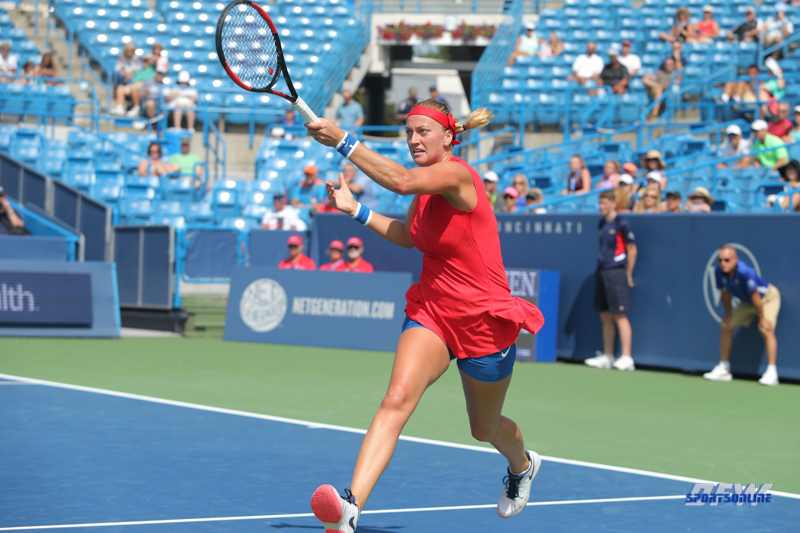 CINCINNATI, OH - AUGUST 14: Petra Kvitova (CZE) hits a forehand during the Western & Southern Open at the Lindner Family Tennis Center in Mason, Ohio on August 14, 2017. (Photo by George Walker/Icon Sportswire)