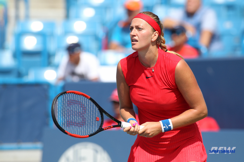 CINCINNATI, OH - AUGUST 14: Petra Kvitova (CZE) watches her shot during the Western & Southern Open at the Lindner Family Tennis Center in Mason, Ohio on August 14, 2017. (Photo by George Walker/Icon Sportswire)