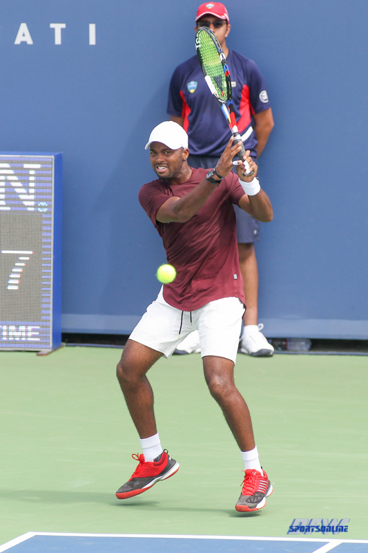 CINCINNATI, OH - AUGUST 14: Donald Young (USA) hits a backhand during the Western & Southern Open at the Lindner Family Tennis Center in Mason, Ohio on August 14, 2017. (Photo by George Walker/Icon Sportswire)