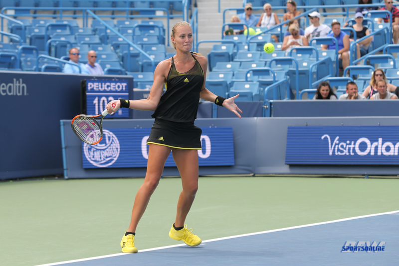 CINCINNATI, OH - AUGUST 14: Kristina Mladenovic (FRA) hits a forehand during the Western & Southern Open at the Lindner Family Tennis Center in Mason, Ohio on August 14, 2017. (Photo by George Walker/Icon Sportswire)