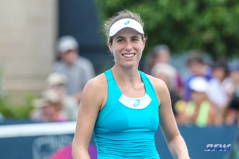 CINCINNATI, OH - AUGUST 14: Johanna Konta (GBR) reacts to a point during the Western & Southern Open at the Lindner Family Tennis Center in Mason, Ohio on August 14, 2017. (Photo by George Walker/Icon Sportswire)