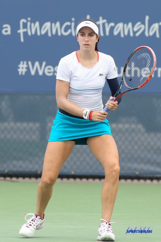 CINCINNATI, OH - AUGUST 14: Christina McHale (USA) prepares to return serve during the Western & Southern Open at the Lindner Family Tennis Center in Mason, Ohio on August 14, 2017. (Photo by George Walker/Icon Sportswire)