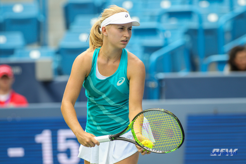 CINCINNATI, OH - AUGUST 14: Daria Gavrilova (AUS) prepares to serve during the Western & Southern Open at the Lindner Family Tennis Center in Mason, Ohio on August 14, 2017. (Photo by George Walker/Icon Sportswire)