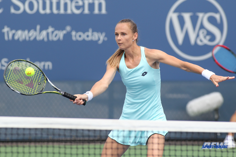 CINCINNATI, OH - AUGUST 14: Magdalena Rybarikova (SVK) hits a volley during the Western & Southern Open at the Lindner Family Tennis Center in Mason, Ohio on August 14, 2017. (Photo by George Walker/Icon Sportswire)