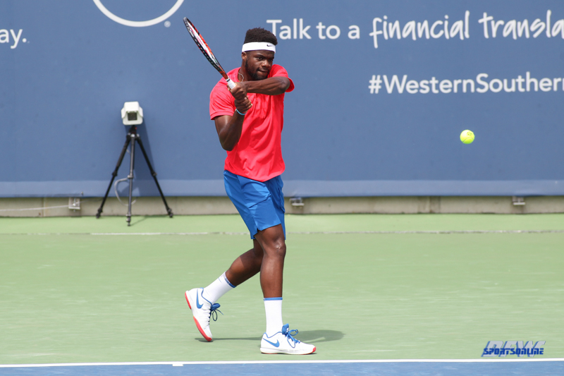 CINCINNATI, OH - AUGUST 14: Frances Tiafoe (USA) hits a backhand during the Western & Southern Open at the Lindner Family Tennis Center in Mason, Ohio on August 14, 2017. (Photo by George Walker/Icon Sportswire)