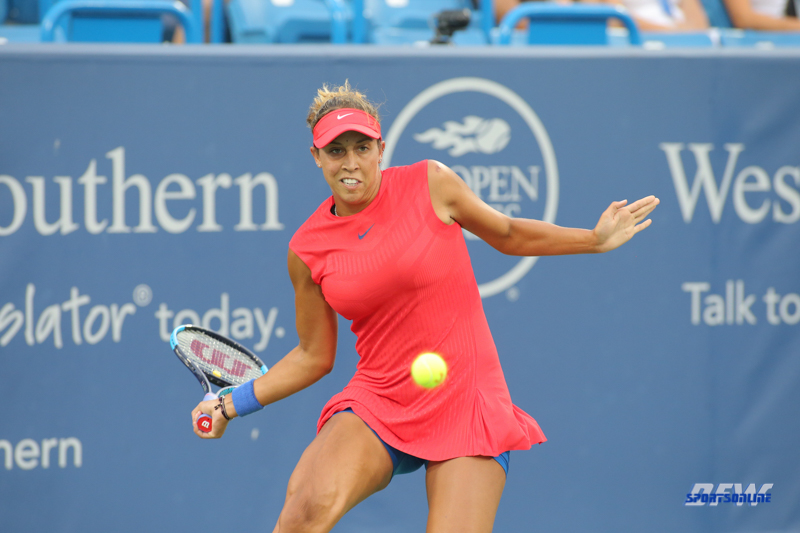 CINCINNATI, OH - AUGUST 14: Madison Keys (USA) hits a forehand during the Western & Southern Open at the Lindner Family Tennis Center in Mason, Ohio on August 14, 2017. (Photo by George Walker/Icon Sportswire)