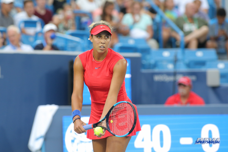 CINCINNATI, OH - AUGUST 14: Madison Keys (USA) prepards to serve during the Western & Southern Open at the Lindner Family Tennis Center in Mason, Ohio on August 14, 2017. (Photo by George Walker/Icon Sportswire)