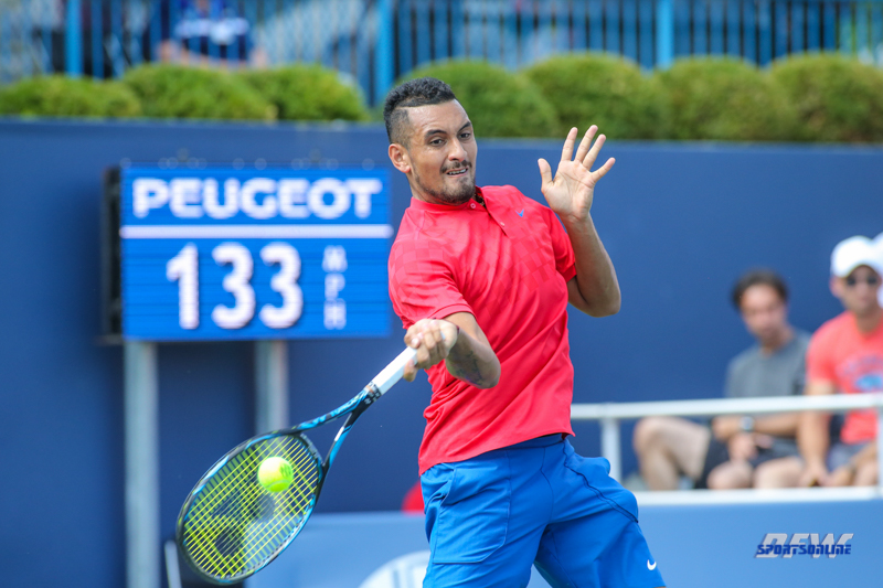 CINCINNATI, OH - AUGUST 15: Nick Kyrgios (AUS) hits a forehand during the Western & Southern Open at the Lindner Family Tennis Center in Mason, Ohio on August 14, 2017. (Photo by George Walker/Icon Sportswire)