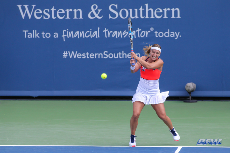 CINCINNATI, OH - AUGUST 15: Dominika Cibulkova (SVK) hits a backhand during the Western & Southern Open at the Lindner Family Tennis Center in Mason, Ohio on August 14, 2017. (Photo by George Walker/Icon Sportswire)
