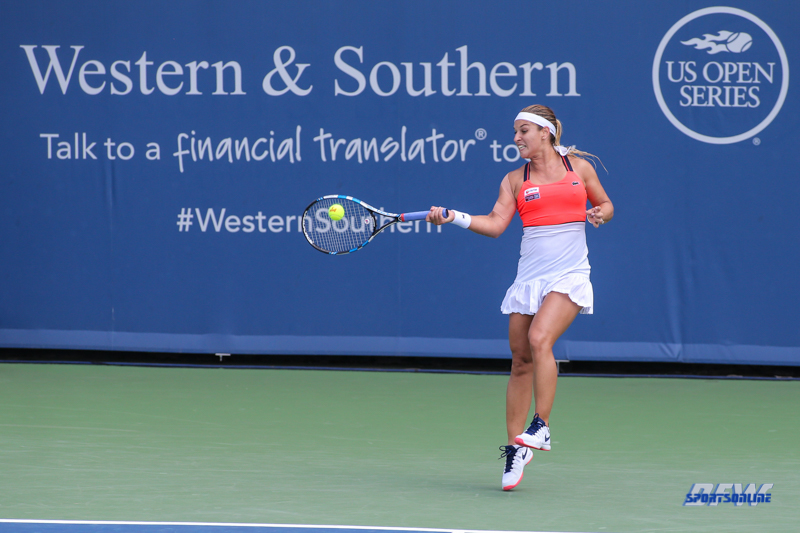 CINCINNATI, OH - AUGUST 15: Dominika Cibulkova (SVK) hits a forehand during the Western & Southern Open at the Lindner Family Tennis Center in Mason, Ohio on August 14, 2017. (Photo by George Walker/Icon Sportswire)