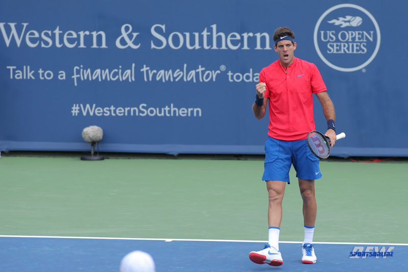 CINCINNATI, OH - AUGUST 15: Juan Martin Del Potro (ARG) reacts to a point during the Western & Southern Open at the Lindner Family Tennis Center in Mason, Ohio on August 14, 2017. (Photo by George Walker/Icon Sportswire)