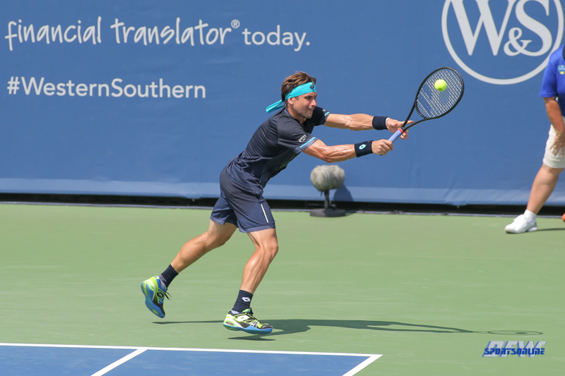 CINCINNATI, OH - AUGUST 15: David Ferrer (ESP) hits a backhand during the Western & Southern Open at the Lindner Family Tennis Center in Mason, Ohio on August 15, 2017. (Photo by George Walker/Icon Sportswire)