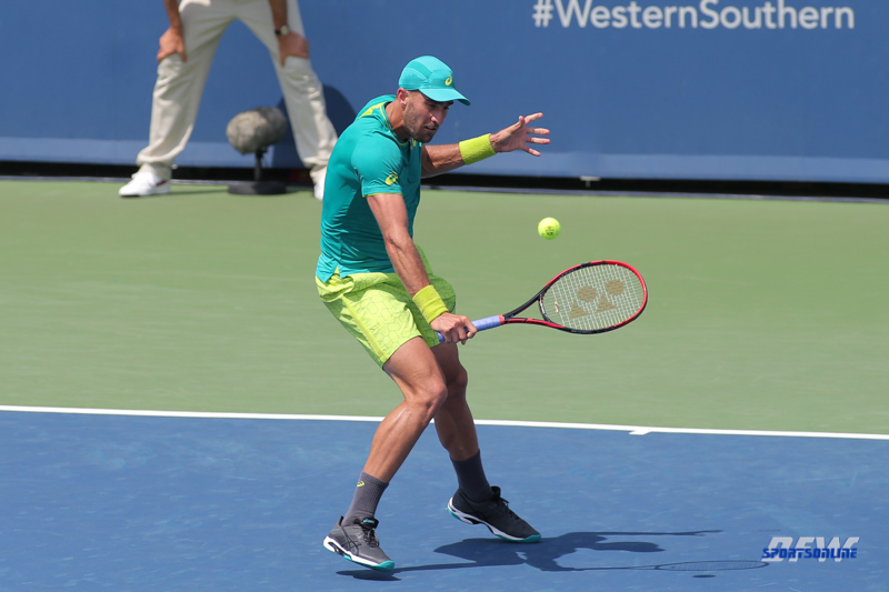 CINCINNATI, OH - AUGUST 15: Steve Johnson (USA) hits a backhand during the Western & Southern Open at the Lindner Family Tennis Center in Mason, Ohio on August 15, 2017. (Photo by George Walker/Icon Sportswire)
