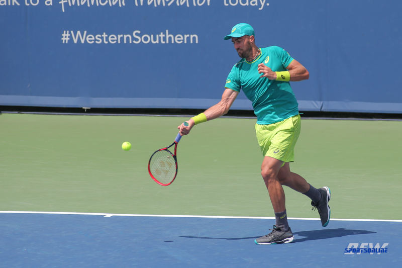 CINCINNATI, OH - AUGUST 15: Steve Johnson (USA) hits a forehand during the Western & Southern Open at the Lindner Family Tennis Center in Mason, Ohio on August 15, 2017. (Photo by George Walker/Icon Sportswire)