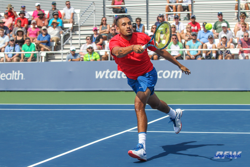 CINCINNATI, OH - AUGUST 15: Nick Kyrgios hits a forehand during the Western & Southern Open at the Lindner Family Tennis Center in Mason, Ohio on August 15, 2017. (Photo by George Walker/Icon Sportswire)
