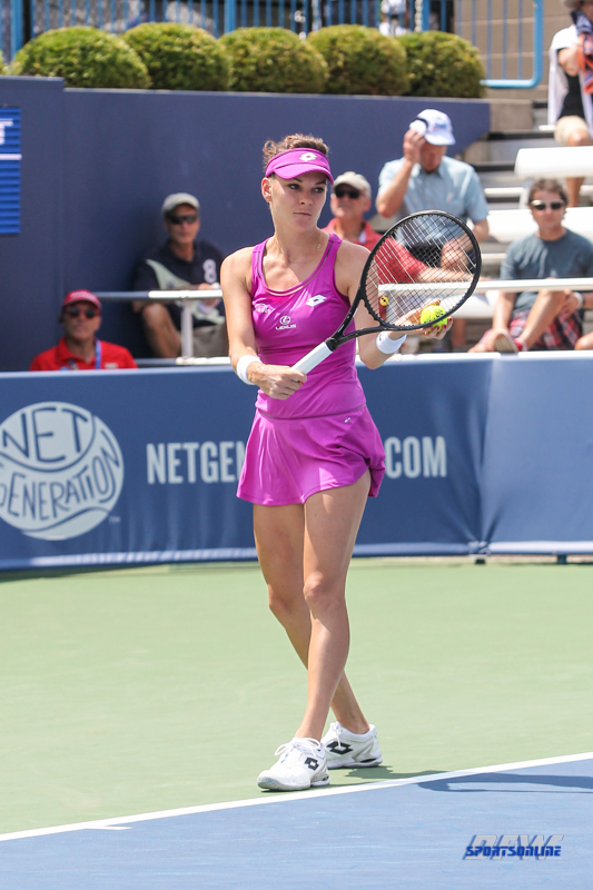 CINCINNATI, OH - AUGUST 15: Agnieszka Radwanska (POL) prepares to serve during the Western & Southern Open at the Lindner Family Tennis Center in Mason, Ohio on August 15, 2017. (Photo by George Walker/Icon Sportswire)