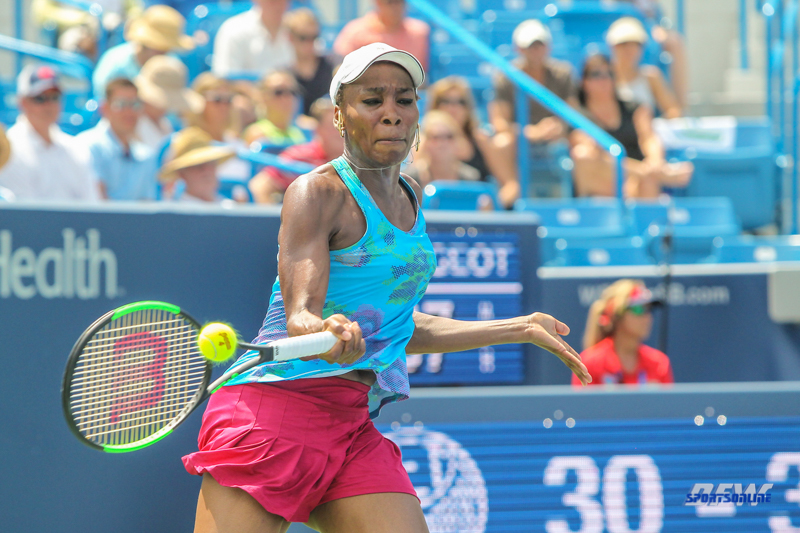 CINCINNATI, OH - AUGUST 15: Venus Williams (USA) hits a forehand during the Western & Southern Open at the Lindner Family Tennis Center in Mason, Ohio on August 15, 2017. (Photo by George Walker/Icon Sportswire)