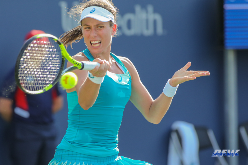 CINCINNATI, OH - AUGUST 15: Johanna Konta (GBR) hits a forehand during the Western & Southern Open at the Lindner Family Tennis Center in Mason, Ohio on August 15, 2017. (Photo by George Walker/Icon Sportswire)