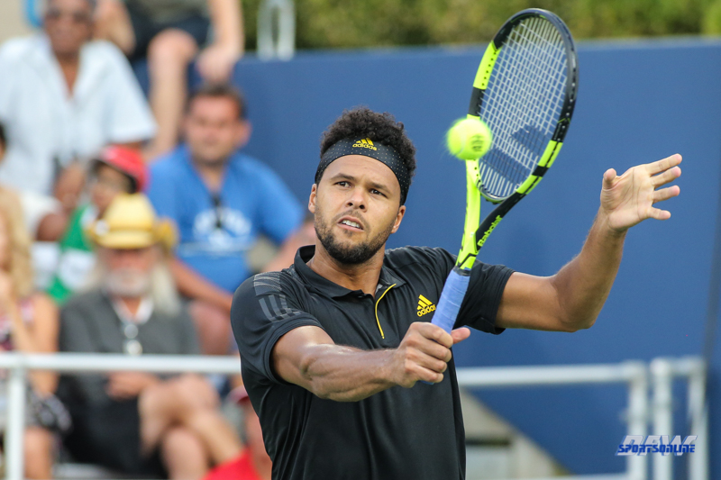 CINCINNATI, OH - AUGUST 15: Jo-Wilfried Tsonga (FRA) hits a backhand during the Western & Southern Open at the Lindner Family Tennis Center in Mason, Ohio on August 15, 2017. (Photo by George Walker/Icon Sportswire)