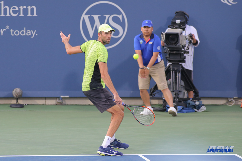 CINCINNATI, OH - AUGUST 15: Ivo Karlovic (CRO) hits a backhand during the Western & Southern Open at the Lindner Family Tennis Center in Mason, Ohio on August 15, 2017. (Photo by George Walker/Icon Sportswire)
