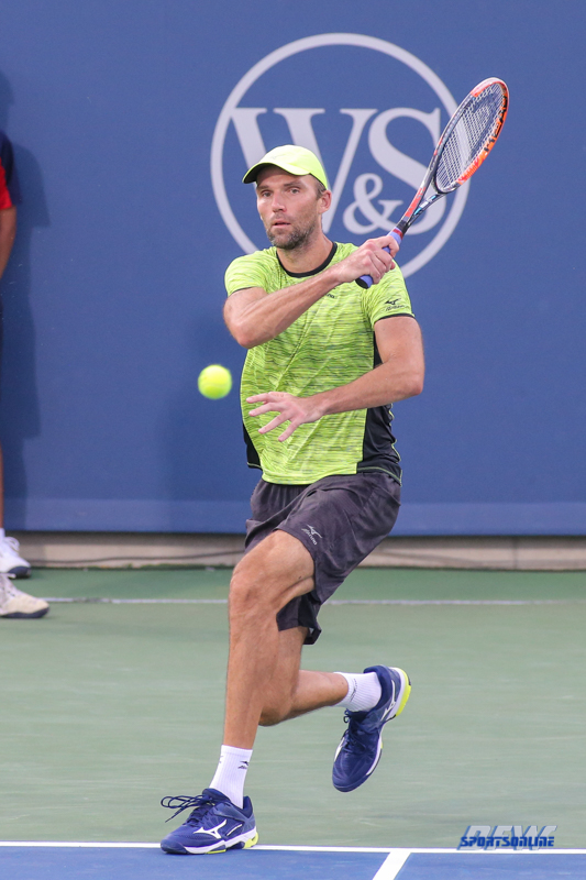 CINCINNATI, OH - AUGUST 15: Ivo Karlovic (CRO) hits a forehand during the Western & Southern Open at the Lindner Family Tennis Center in Mason, Ohio on August 15, 2017. (Photo by George Walker/Icon Sportswire)