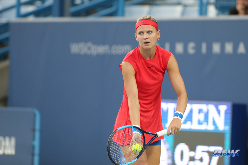 CINCINNATI, OH - AUGUST 15: Lucie Safarova (CZE) prepares to serve during the Western & Southern Open at the Lindner Family Tennis Center in Mason, Ohio on August 15, 2017. (Photo by George Walker/Icon Sportswire)