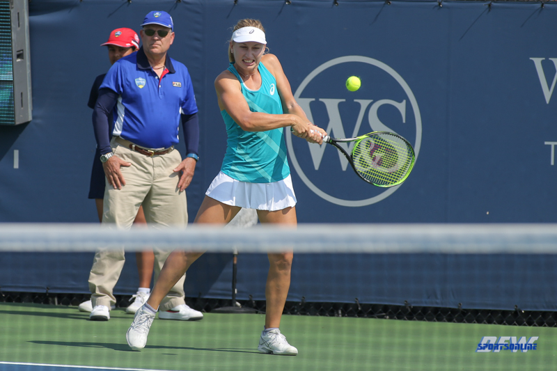 CINCINNATI, OH - AUGUST 16: Daria Gavrilova (AUS) hits a backhand during the Western & Southern Open at the Lindner Family Tennis Center in Mason, Ohio on August 16, 2017.(Photo by George Walker/Icon Sportswire)