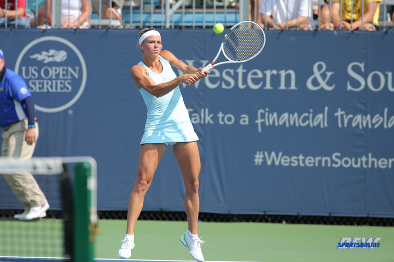 CINCINNATI, OH - AUGUST 16: Camila Giorgi (ITA) hits a backhand during the Western & Southern Open at the Lindner Family Tennis Center in Mason, Ohio on August 16, 2017.(Photo by George Walker/Icon Sportswire)