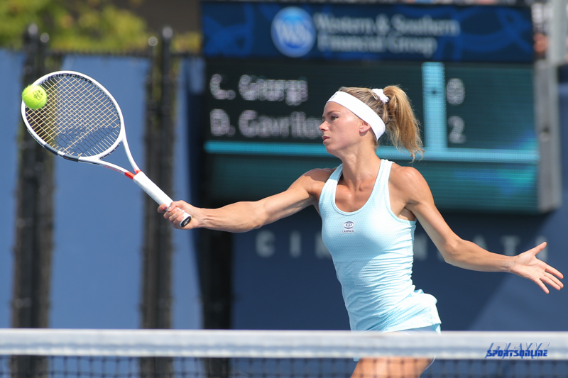 CINCINNATI, OH - AUGUST 16: Camila Giorgi (ITA) hits a forehand during the Western & Southern Open at the Lindner Family Tennis Center in Mason, Ohio on August 16, 2017.(Photo by George Walker/Icon Sportswire)