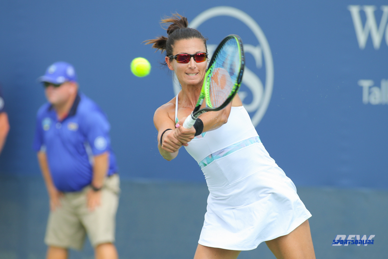 CINCINNATI, OH - AUGUST 16: Darija Jurak (CRO) hits a backhand during the Western & Southern Open at the Lindner Family Tennis Center in Mason, Ohio on August 16, 2017.(Photo by George Walker/Icon Sportswire)