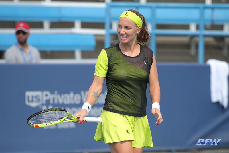 CINCINNATI, OH - AUGUST 16: Svetlana Kuznetsova (RUS) reacts to a point during the Western & Southern Open at the Lindner Family Tennis Center in Mason, Ohio on August 16, 2017.(Photo by George Walker/Icon Sportswire)