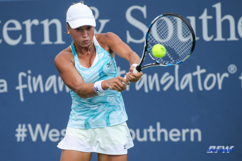CINCINNATI, OH - AUGUST 16: Yulia Putintseva (KAZ) hits a backhand during the Western & Southern Open at the Lindner Family Tennis Center in Mason, Ohio on August 16, 2017.(Photo by George Walker/Icon Sportswire)