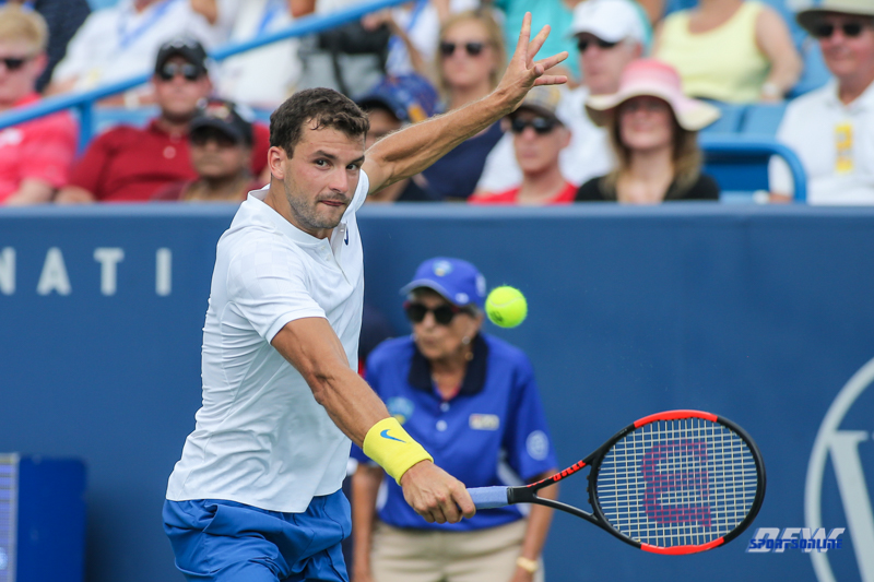 CINCINNATI, OH - AUGUST 16: Grigor Dimitrov (BUL) hits a backhand during the Western & Southern Open at the Lindner Family Tennis Center in Mason, Ohio on August 16, 2017.(Photo by George Walker/Icon Sportswire)