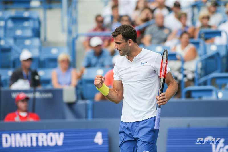 CINCINNATI, OH - AUGUST 16: Grigor Dimitrov (BUL) reacts to a point during the Western & Southern Open at the Lindner Family Tennis Center in Mason, Ohio on August 16, 2017.(Photo by George Walker/Icon Sportswire)