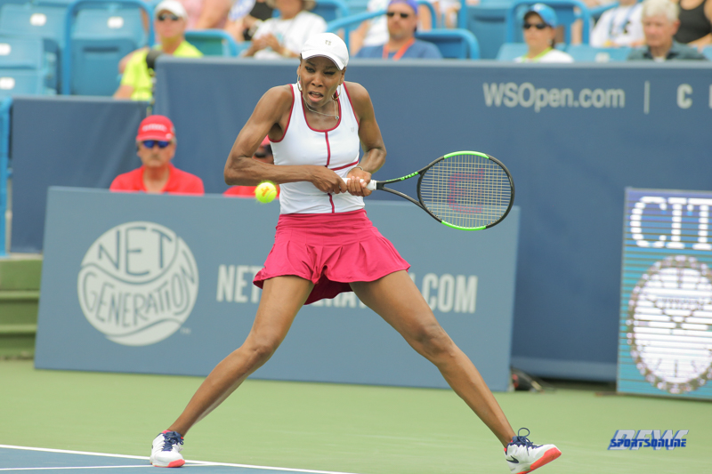 CINCINNATI, OH - AUGUST 16: Venus Williams (USA) hits a backhand during the Western & Southern Open at the Lindner Family Tennis Center in Mason, Ohio on August 16, 2017.(Photo by George Walker/Icon Sportswire)